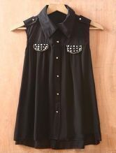 Black Lapel Single Breasted Rivet Pockets Chiffon Shirt