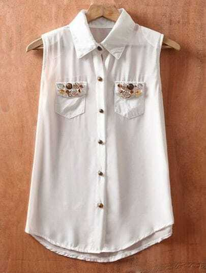 White Lapel Single Breasted Pockets Button Chiffon Shirt