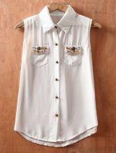 White Lapel Single Breasted Pockets Button Chiffon Shirt