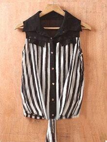Black White Single Breasted Broken Stripe Chiffon Shirt