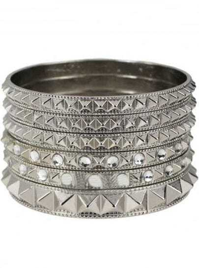 Silver Geometric Six Bangle Bracelet