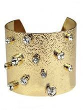 White Crystal Gold Cuff Bracelet