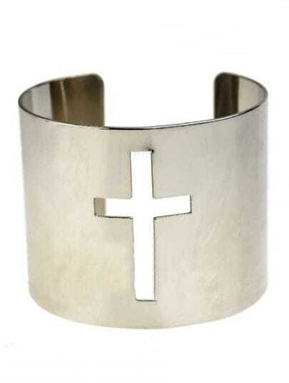 Silver Hollow Cross Cuff Bracelet