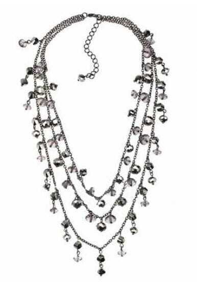 White Crystal Gold Three Chain Necklace