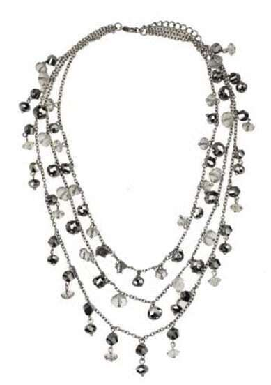 Black Crystal Silver Three Chain Necklace