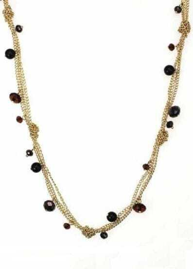 Black Crystal Gold Three Chain Necklace