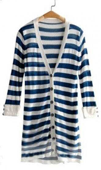 Blue White Striped V-neck Rolled Long Sleeve Cardigan