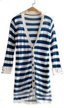 Blue White Striped V-neck Rolled Long Sleeve Cardigan
