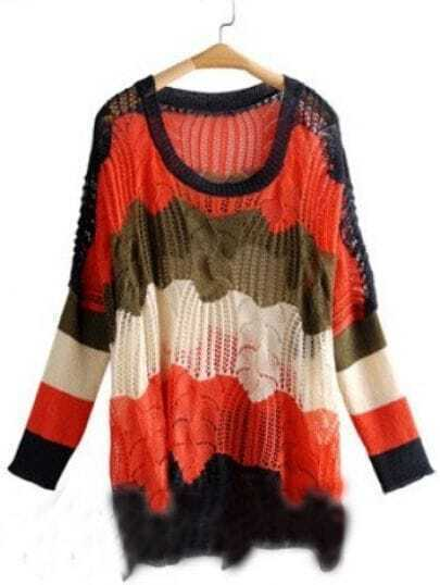 Red Brown Batwing Sleeve Scallop Hem Oversized Jumper