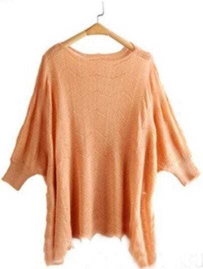 Beige Wavy Dolman Three Quarter Length Sleeve Scallop Hem Jumper
