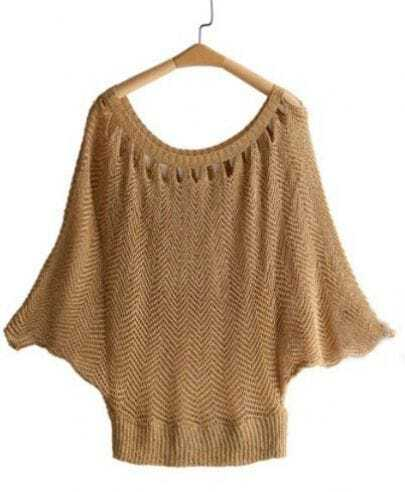 Khaki Batwing Sleeve Cut Out Neck Holly Jumper