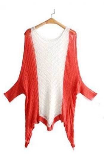 Red White Dolman Sleeve V Strips Hanky Hem Jumper