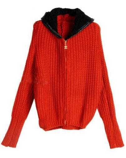 Red Long Sleeve Chunky Rib Faux Fur Hoody Zip Cardigan