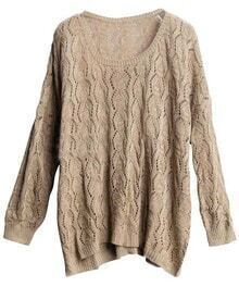 Light Coffee Long Sleeve Open Weave Knit Jumper