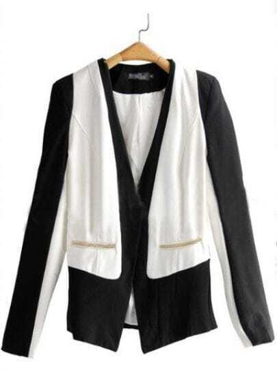 Black White Pad Shoulder Long Sleeve One Button Chain Blazer