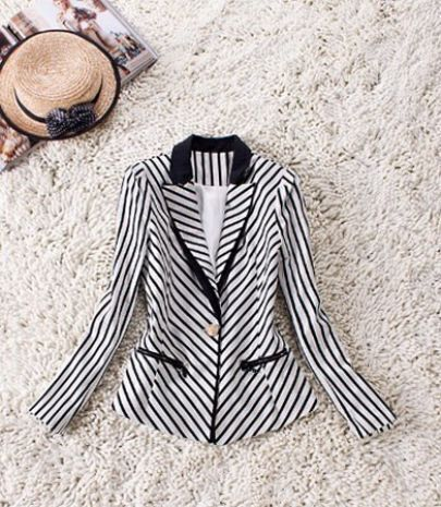Black White Stripes Long Sleeve Zip Pockets Slim Blazer