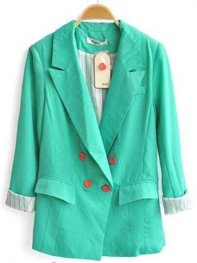 Light Green Long Sleeve Folding Pockets Notch Lapel Blazer