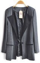 Grey Long Sleeve Satin Lapel Pockets Boyfrind Blazer