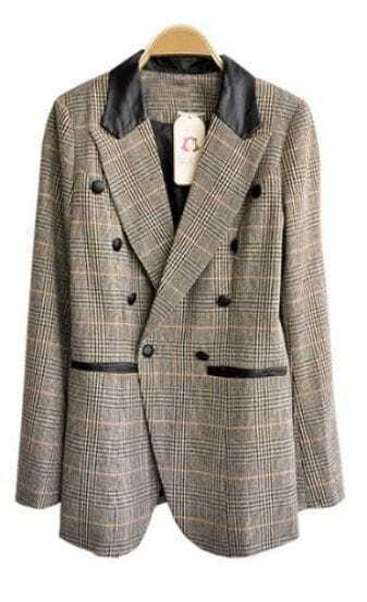 Grey Long Sleeve Check Print Double Breasted Curved Hem Blazer