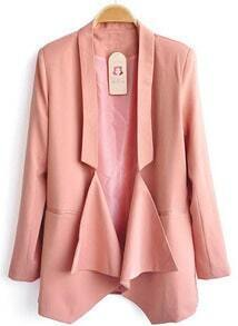 Pink Long Sleeve Shawl Collar Draped Front Pockets Blazer