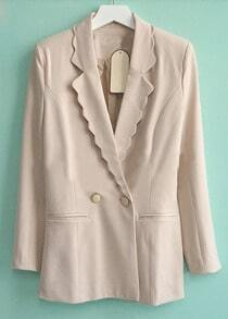 Beige Long Sleeve Scallop Lapel Two Buttons Blazer