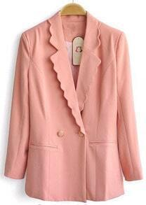 Pink Long Sleeve Scallop Lapel Two Buttons Blazer