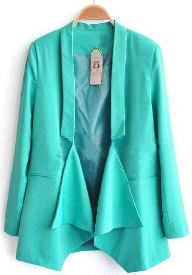 Turquoise Long Sleeve Shawl Collar Draped Front Pockets Blazer