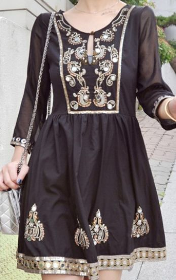 Black Three Quarter Length Sleeve Sequined Embroidery Tunic Dress