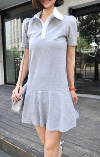 Grey Cotton Short Sleeve Polo Neck Pleated Skater Dress