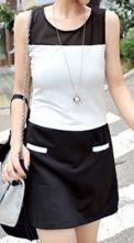 Black White Sleeveless Pockets Contrast Mesh Short Dress