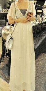 Beige Chiffon Ruffle Sleeve Beading V-neck Tie Back Long Dress