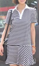 Black White Striped Cotton Short Sleeve Polo Neck Pleated Skater Dress