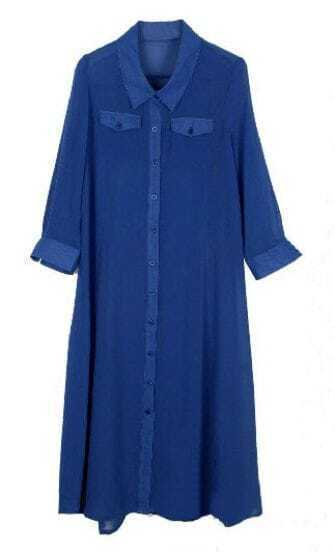 Blue Chiffon Long Sleeve Pockets Shift Long Shirt Dress