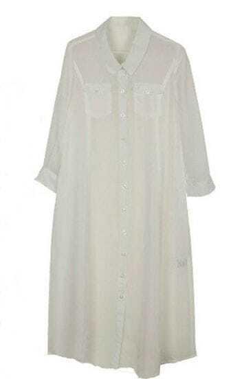 White Chiffon Long Sleeve Pockets Shift Long Shirt Dress