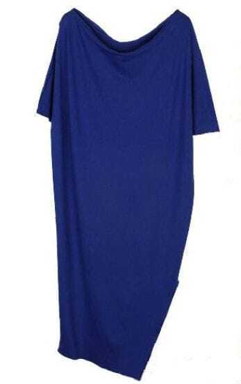 Blue Scoop Neck Batwing Sleeve Split Side Long Knitted Dress