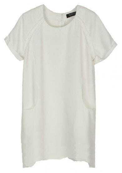 White Chiffon Raglan Short Sleeve Pockets Shift Short Dress