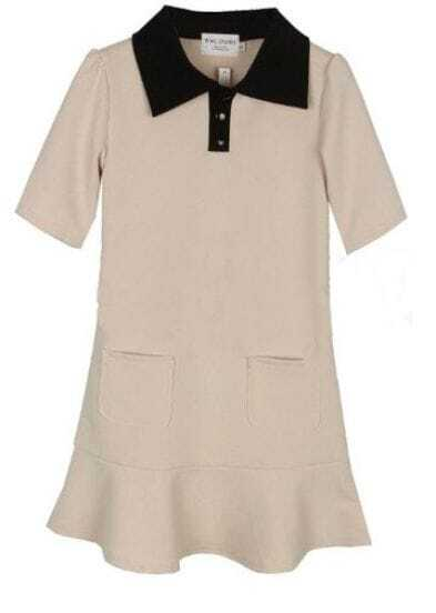 Beige Short Sleeve Pockets Ruffle Hem Polo Neck Short Dress