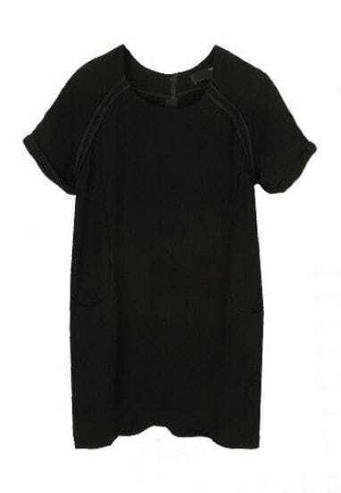Black Chiffon Raglan Short Sleeve Pockets Shift Short Dress