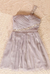 Grey Chiffon Pearl Single Strap Strapless Bandeau Pleated Dress