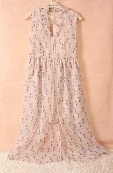 Pink Chiffon Sleeveless Deep V-neck Bow Print High Low Dress