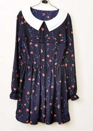 Navy Chiffon Heart Print Double Collar Long Sleeve Pleated Dress