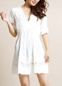 White Long Sleeve Scallop V-neck Tie Back Tunic Short Dress