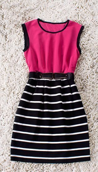 Rose Red Sleeveless Cotton Striped Belt Sheath Dress