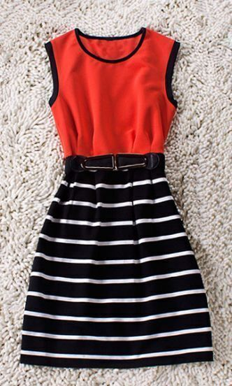 Orange Sleeveless Cotton Striped Belt Sheath Dress