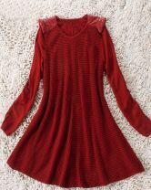 Red Long Sleeve Leather Pads Shoulder Open Stitch Dress