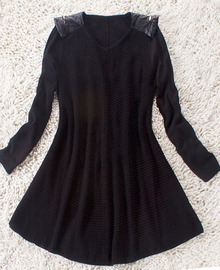Black Long Sleeve Leather Pads Shoulder Open Stitch Dress