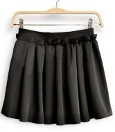 Black Chiffon Frill Embellished Elastic Waist Pleated Skirt