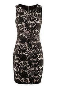 Black Floral Lace Sleeveless Zip Back Shift Dress