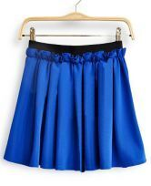 Blue Chiffon Frill Embellished Elastic Waist Pleated Skirt