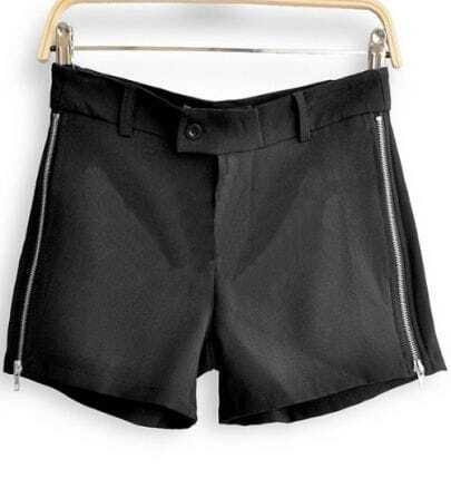 Black Polyester Pockets Zip Side Shorts
